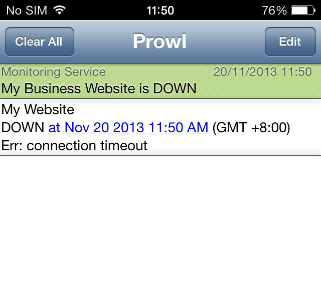 Prowl notification